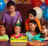 Children attending birthday party