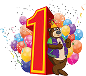 Incredi Bear standing next to number one and balloons