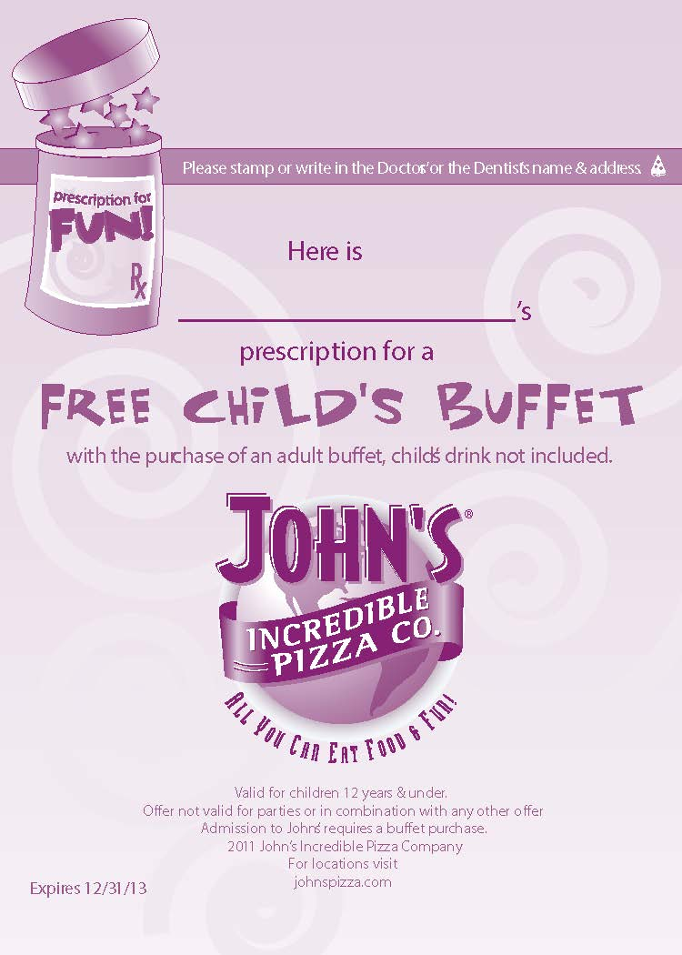 graphic about John Incredible Pizza Coupons Printable identify Johns amazing pizza coupon codes codes / Large a good deal coupon price cut